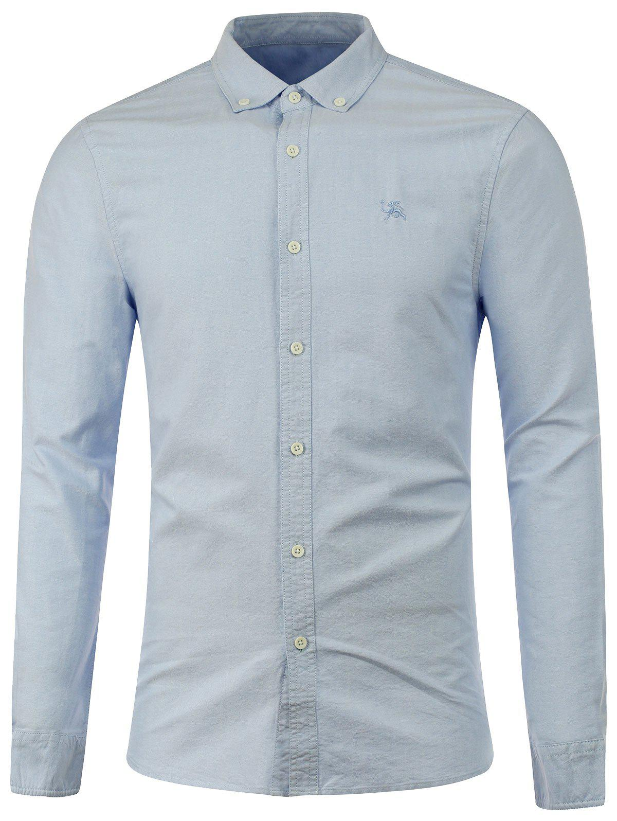 Long Sleeves Embroidered Button Down Shirt - BLUE S