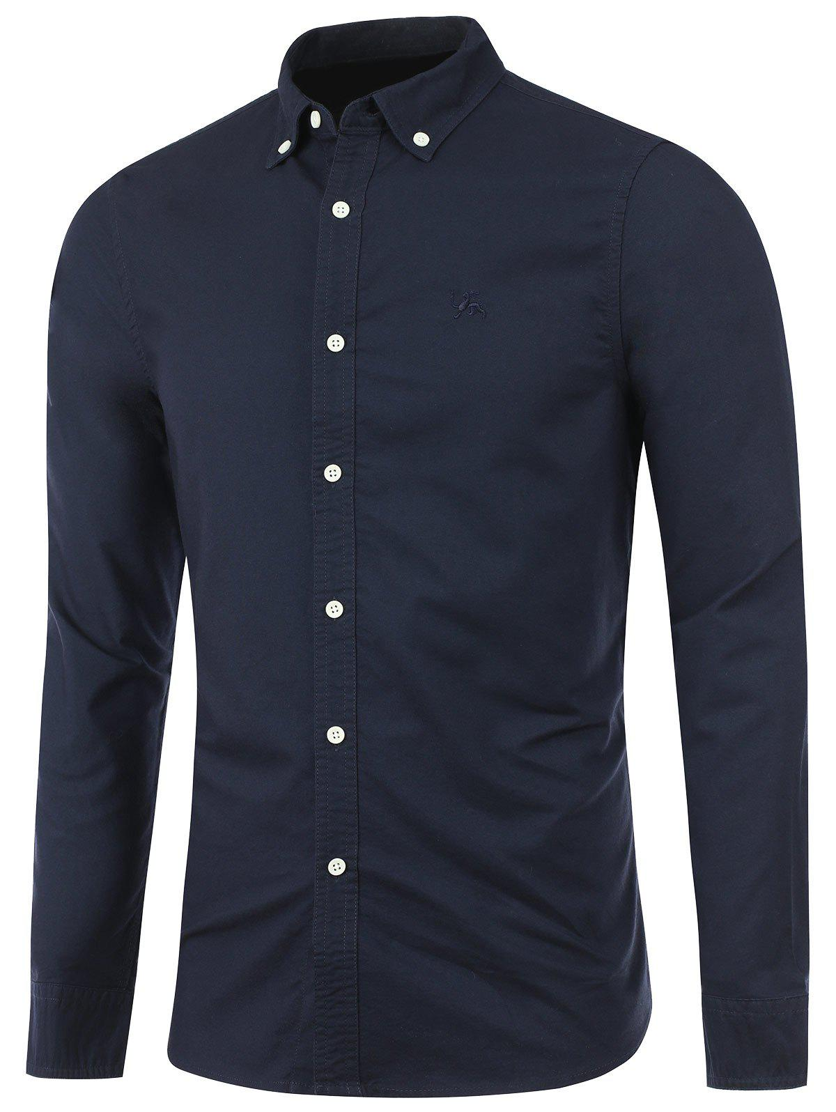 Long Sleeves Embroidered Button Down Shirt - CADETBLUE XL