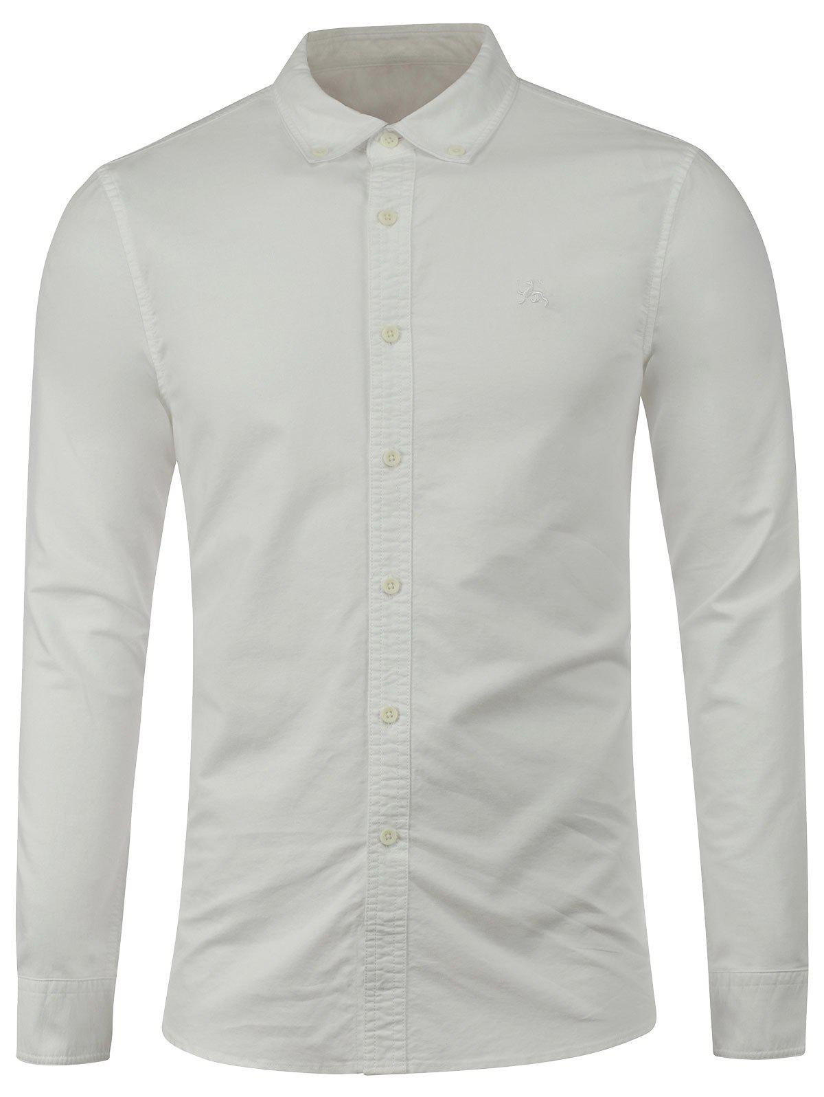 Long Sleeves Embroidered Button Down Shirt - WHITE L