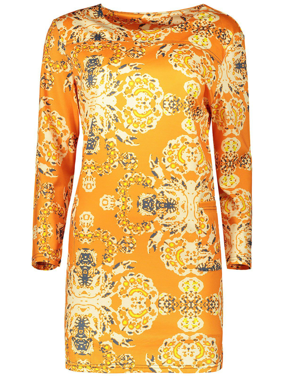 Plus Size Long Sleeve Fitted Dress - ORANGE 2XL