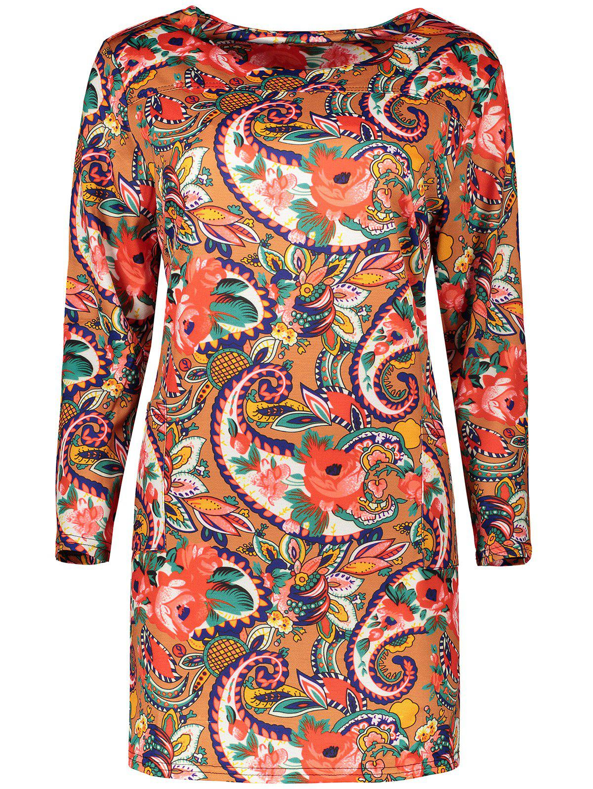 Plus Size Retro Long Sleeve Floral Paisley Dress - ORANGE 2XL