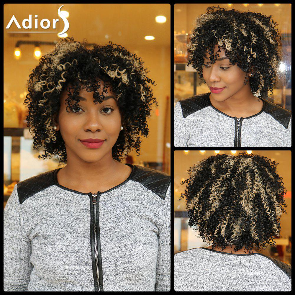 Adiors Highlight Short Side Bang Fluffy Curly Synthetic WigHair<br><br><br>Color: COLORMIX