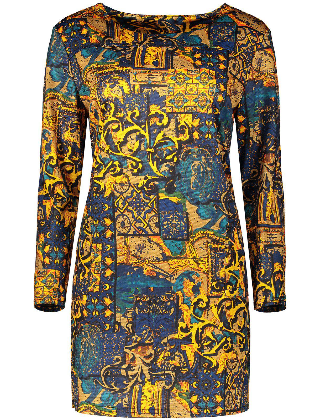 Plus Size Long Sleeve Print Bodycon Mini Dress - DEEP YELLOW 4XL