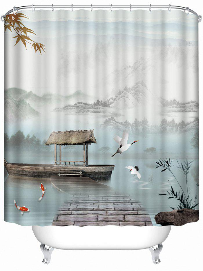 2018 Waterproof Chinese Style Landscape Bath Shower Curtain COLORMIX ...
