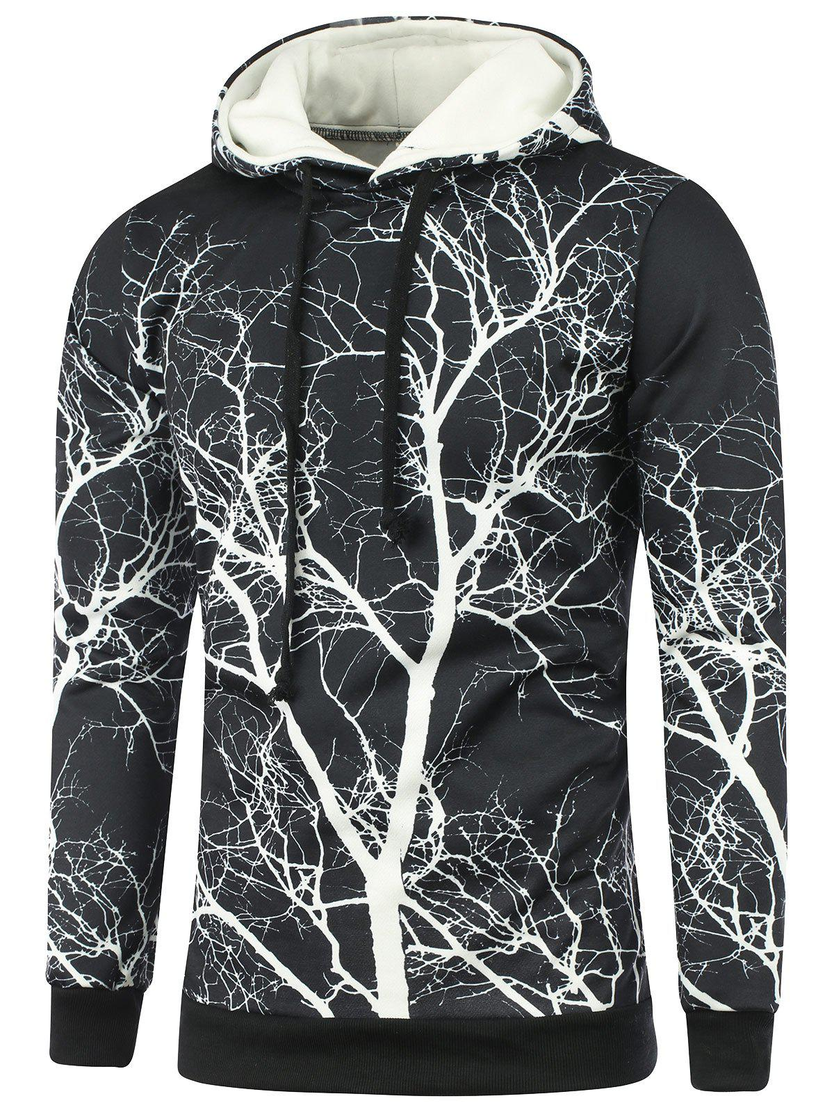 Buy Drawstring Tree Print Pullover Hoodie BLACK