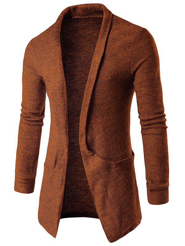 Texture Pocket Open Front Cardigan - COFFEE L