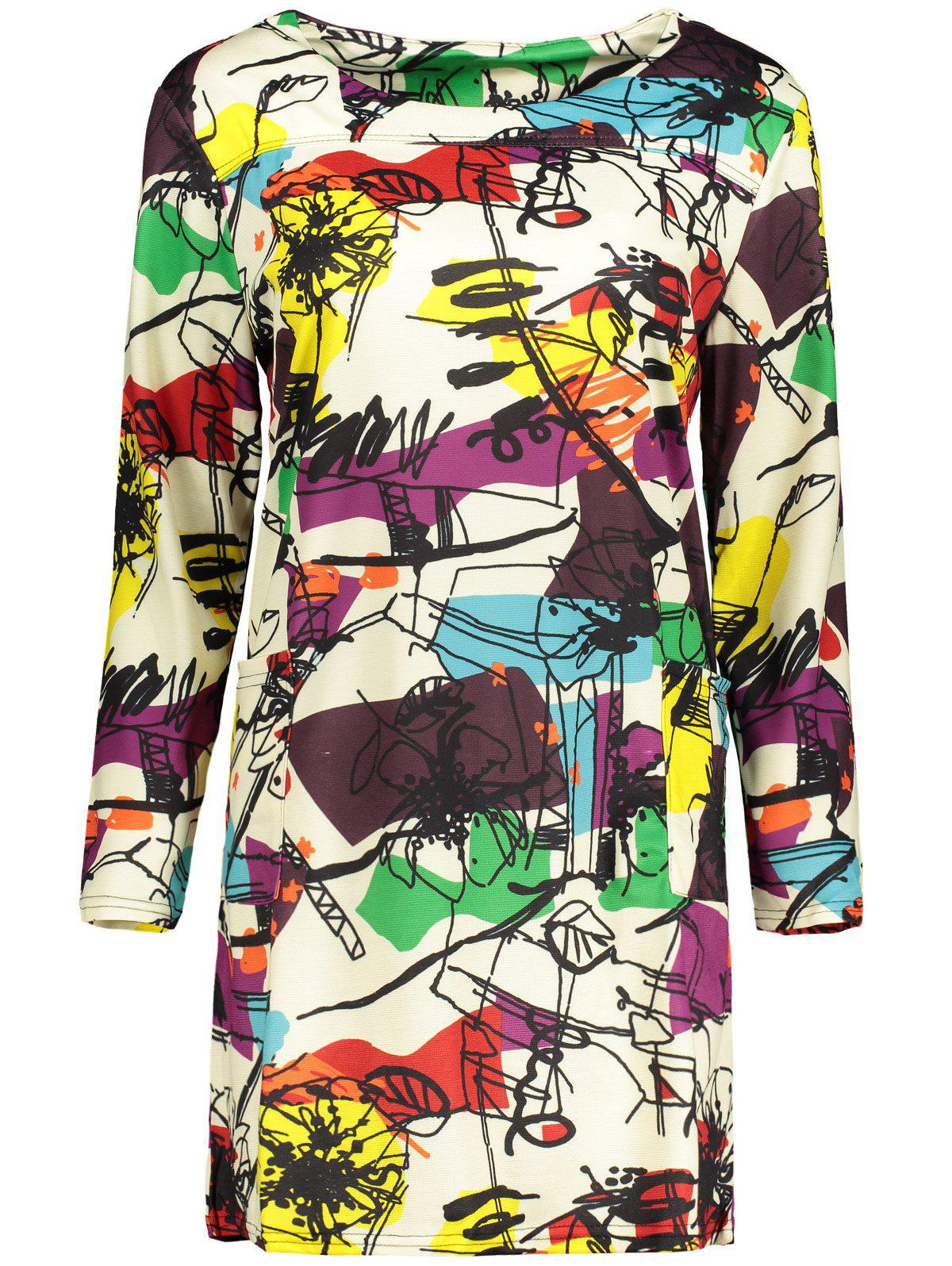 Plus Size Abstract Graffiti Mini Dress - OFF WHITE 2XL