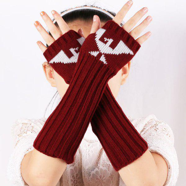Bird Pattern Knit Ribbed Fingerless Arm Warmers - BURGUNDY