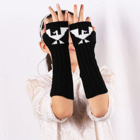 Bird Pattern Knit Ribbed Fingerless Arm Warmers - BLACK