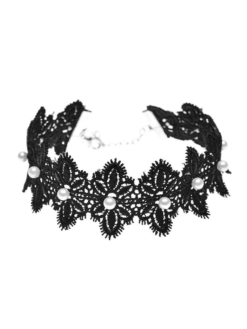 Artificial Pearl Lace Flower Choker Necklace luxury artificial crystal pearl flower necklace