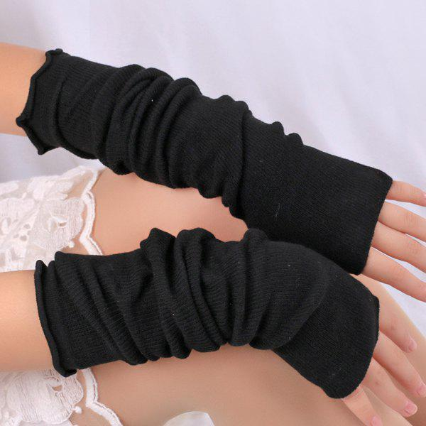 Plain Knitted Ribbed Fingerless Arm Warmers - BLACK
