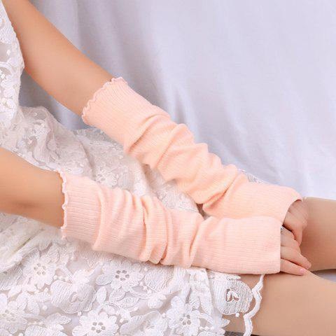Plain Knitted Ribbed Fingerless Arm Warmers ribbed knitted poncho pink