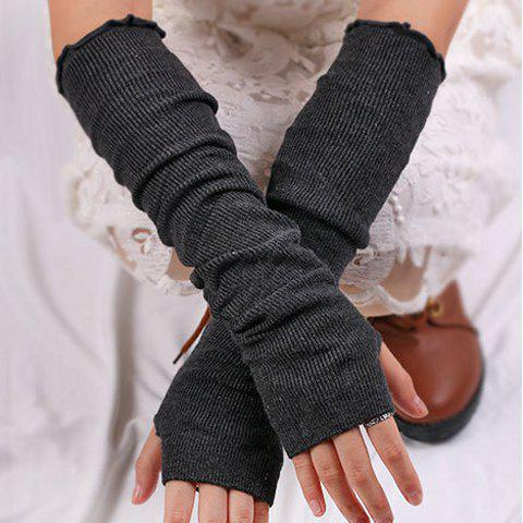 Plain Knitted Ribbed Fingerless Arm Warmers - DEEP GRAY