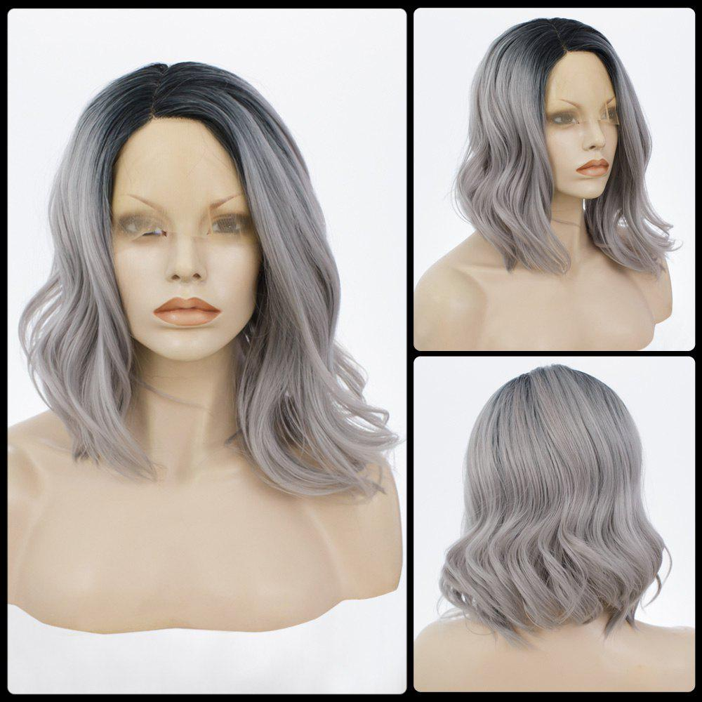 Medium Shaggy Side Parting Curly Lace Front Human Hair Wig - COLORMIX