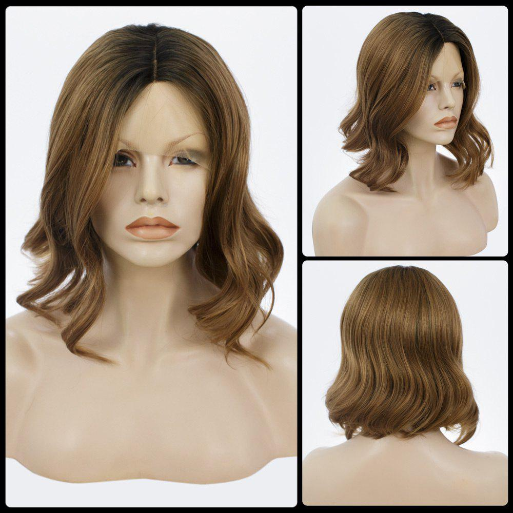 Medium Bob Curly Centre Parting Lace Front Human Hair Wig - COLORMIX