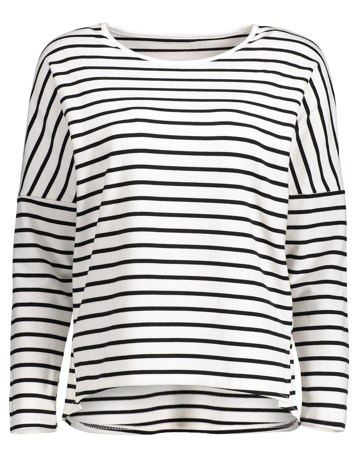 Buy Drop Shoulder Striped Asymmetrical Tee WHITE