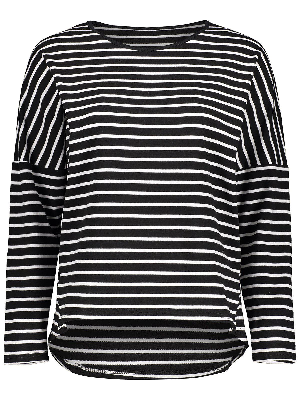 Buy Drop Shoulder Striped Asymmetrical Tee BLACK