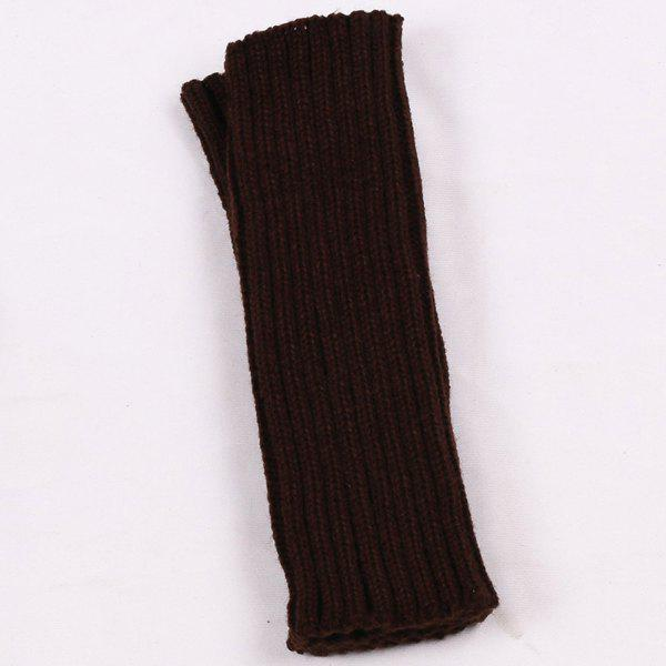 Plain Knitted Ribbed Wrist Warmers - DARK COFFEE