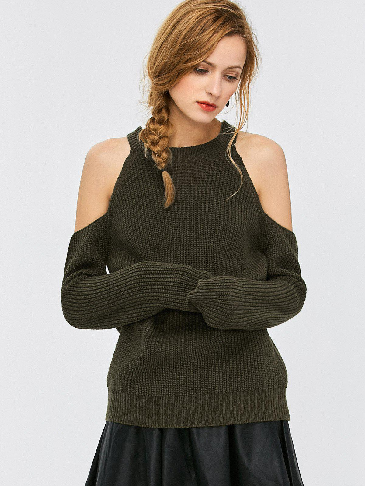Cold Shoulder Crew Neck Ribbed Sweater candino c4518 3