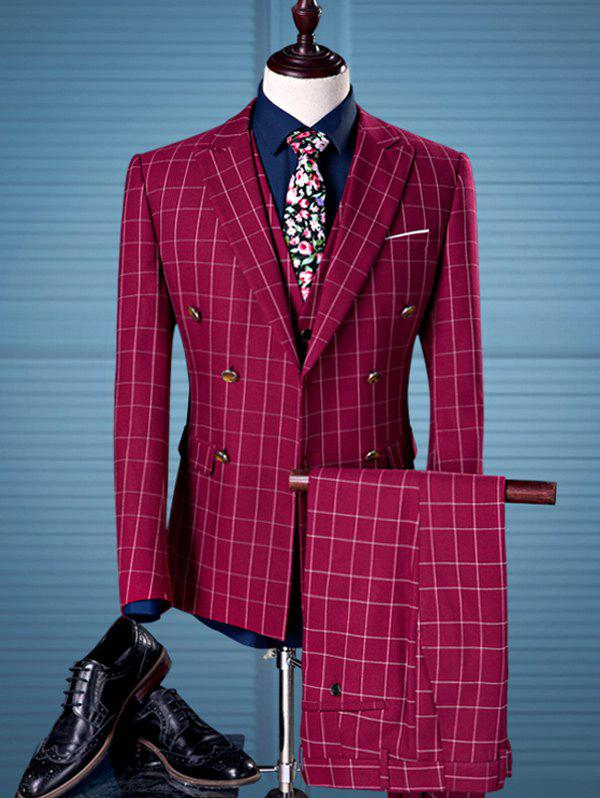 Double Breasted Pocket Grid Three Piece SuitMen<br><br><br>Size: XL<br>Color: RED