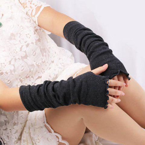 Flouncing Knit Fingerless Arm Warmers - DEEP GRAY