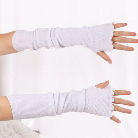 Flouncing Knit Fingerless Arm Warmers - WHITE