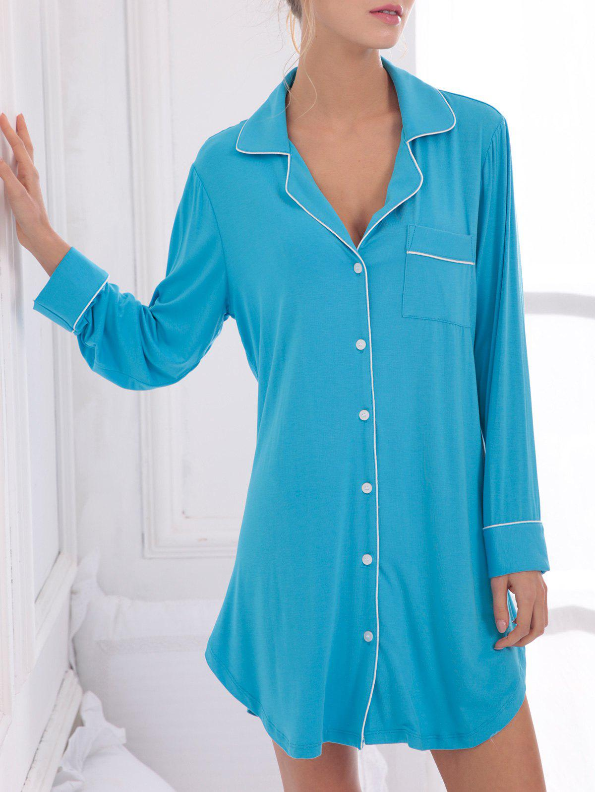 2018 casual cotton sleep shirt dress with pocket blue s in Long cotton sleep shirts