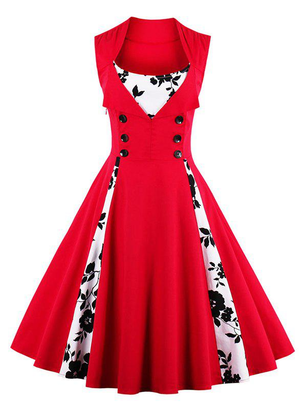 Fit and Flare Print Vintage Tea Length Dress - RED XL