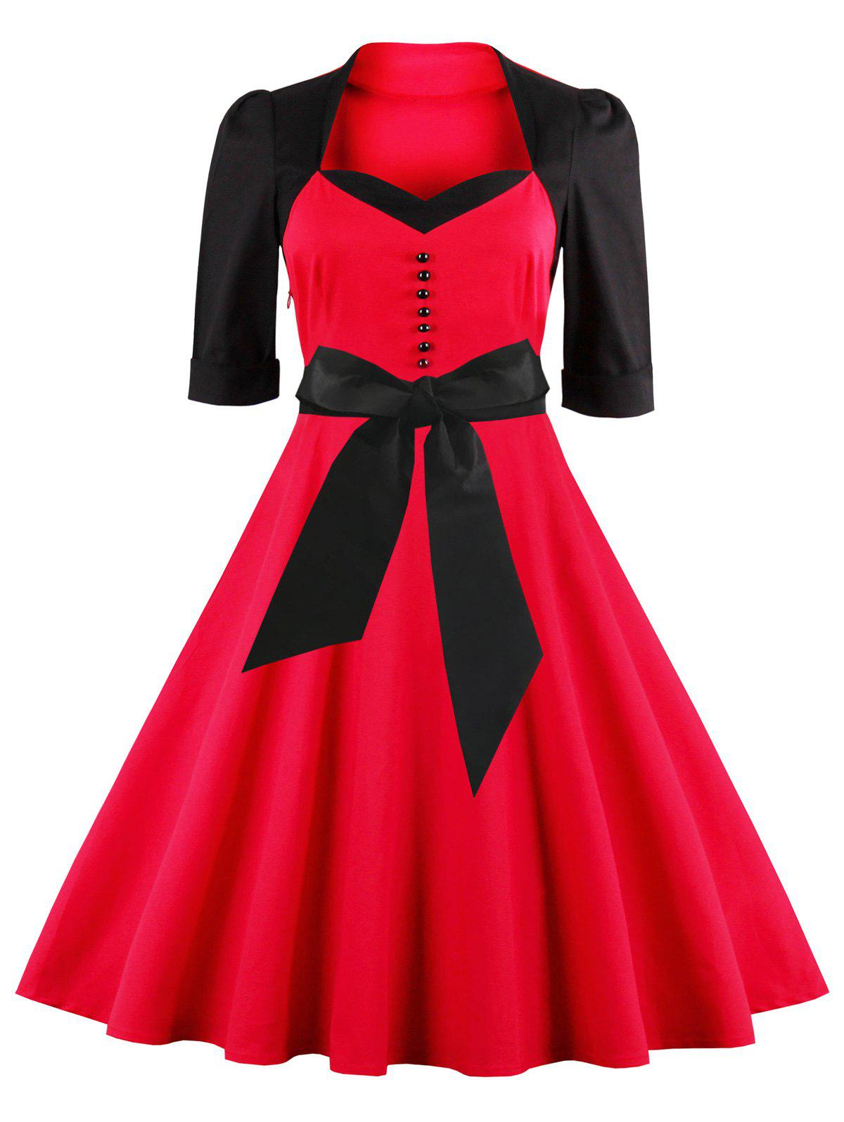Midi Fit and Flare Two Tone Vintage Dress - RED 3XL
