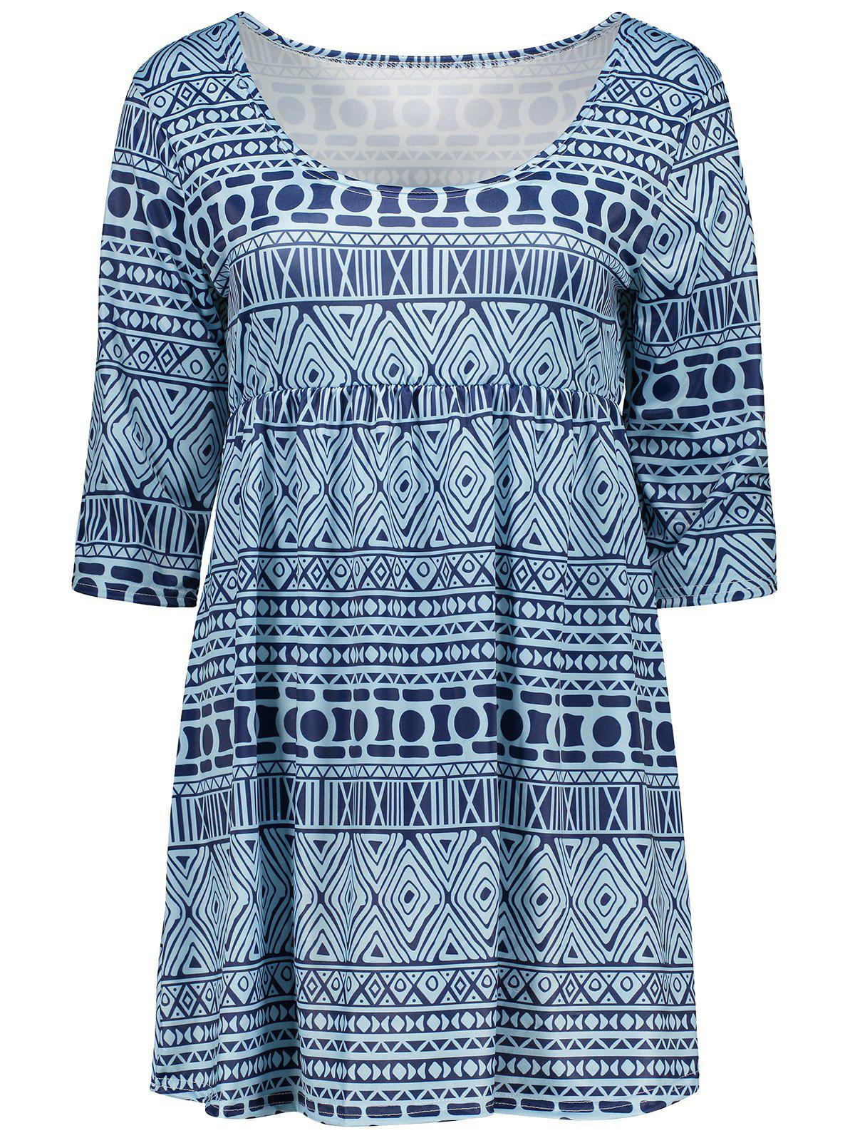 Empire Waist Tunic Blouse with Tribal PrintWomen<br><br><br>Size: M<br>Color: LIGHT BLUE