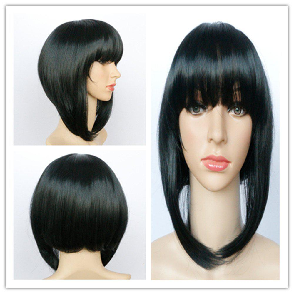 Fashion Full Bang Black Synthetic Asymmetric Bob Style Straight Capless Wig For Women - BLACK