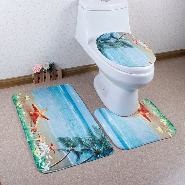 3Pcs Sea Antislip Toilet U Shape Rug Lid Cover Carpet Set - LAKE BLUE