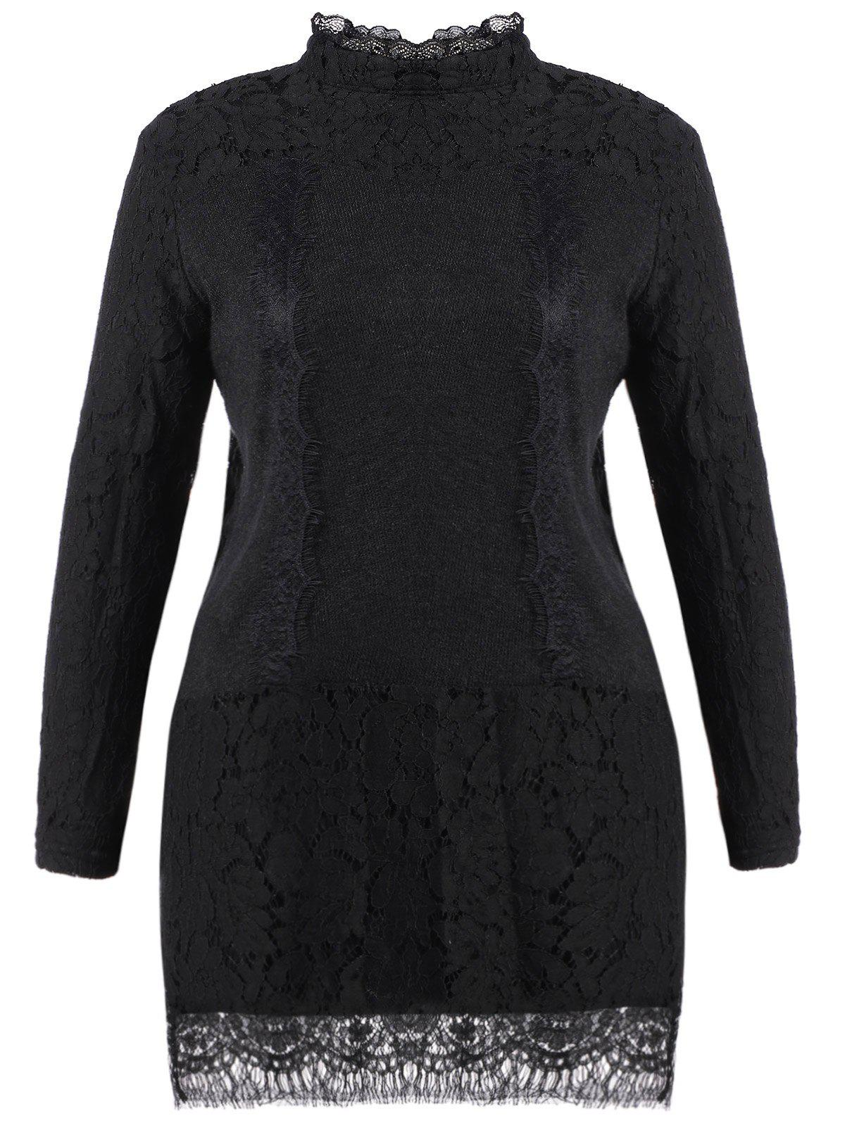 Plus Size Stand Collar Lace Mini Dress - BLACK XL