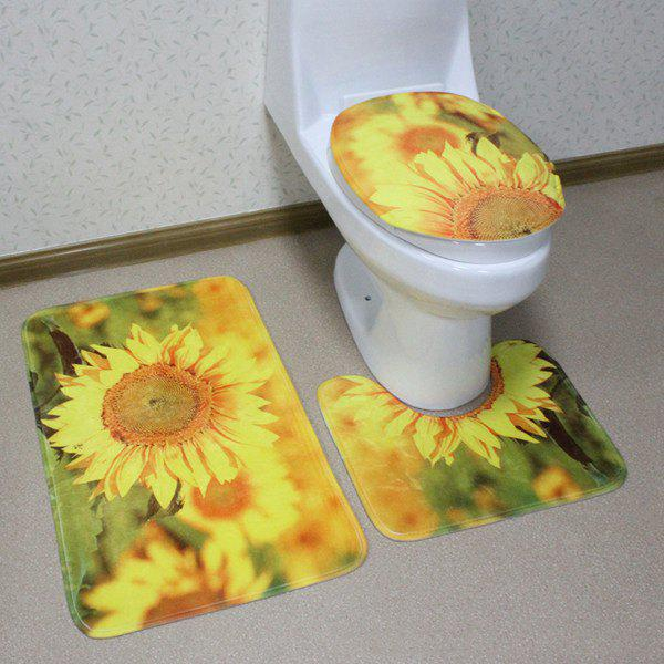 3Pcs Sunflower Antislip Toilet U Shape Rug Lid Cover Carpet Set - CITRUS
