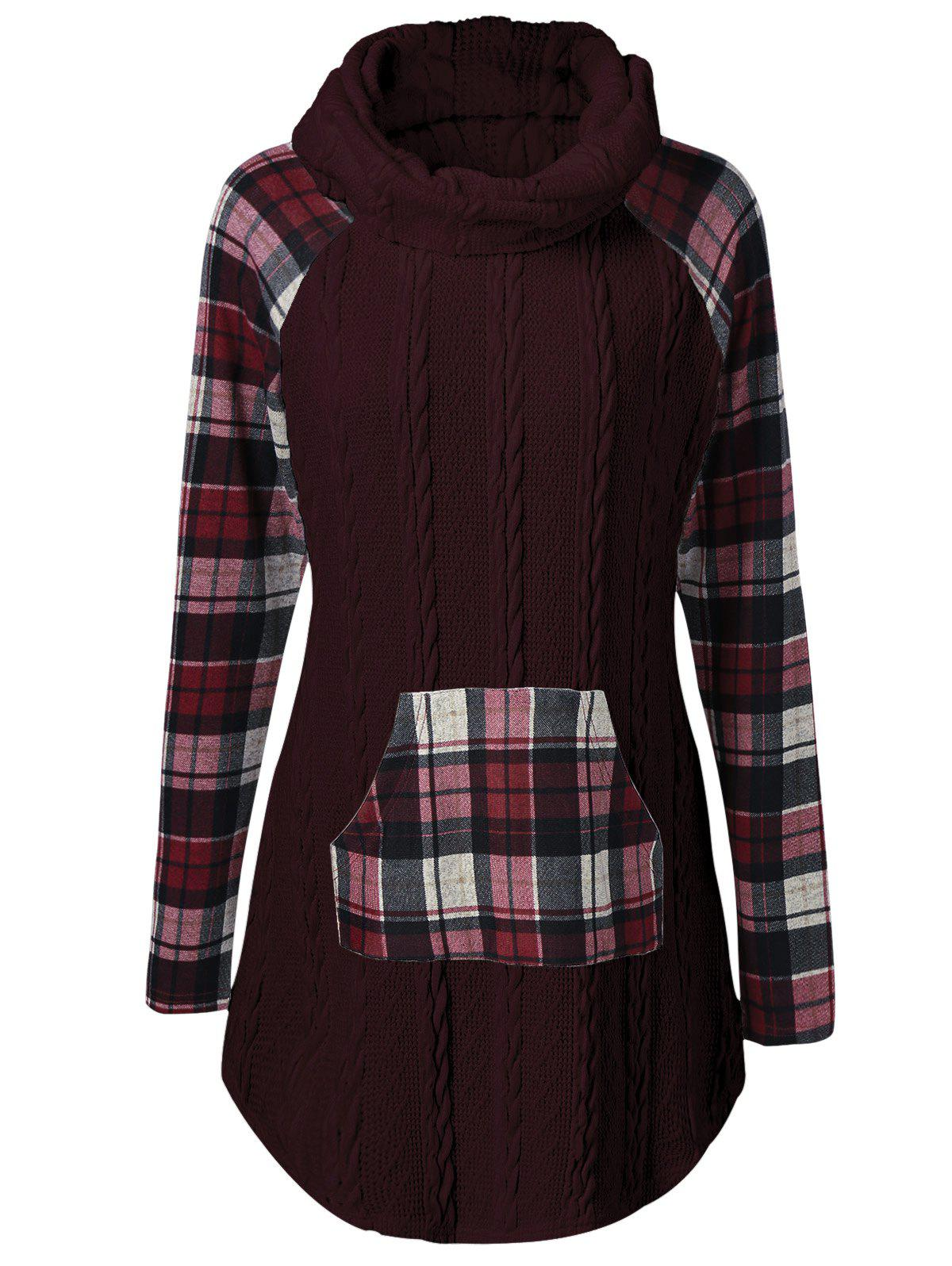 Plaid Cable Knit Tunic Sweater plaid trim tunic top