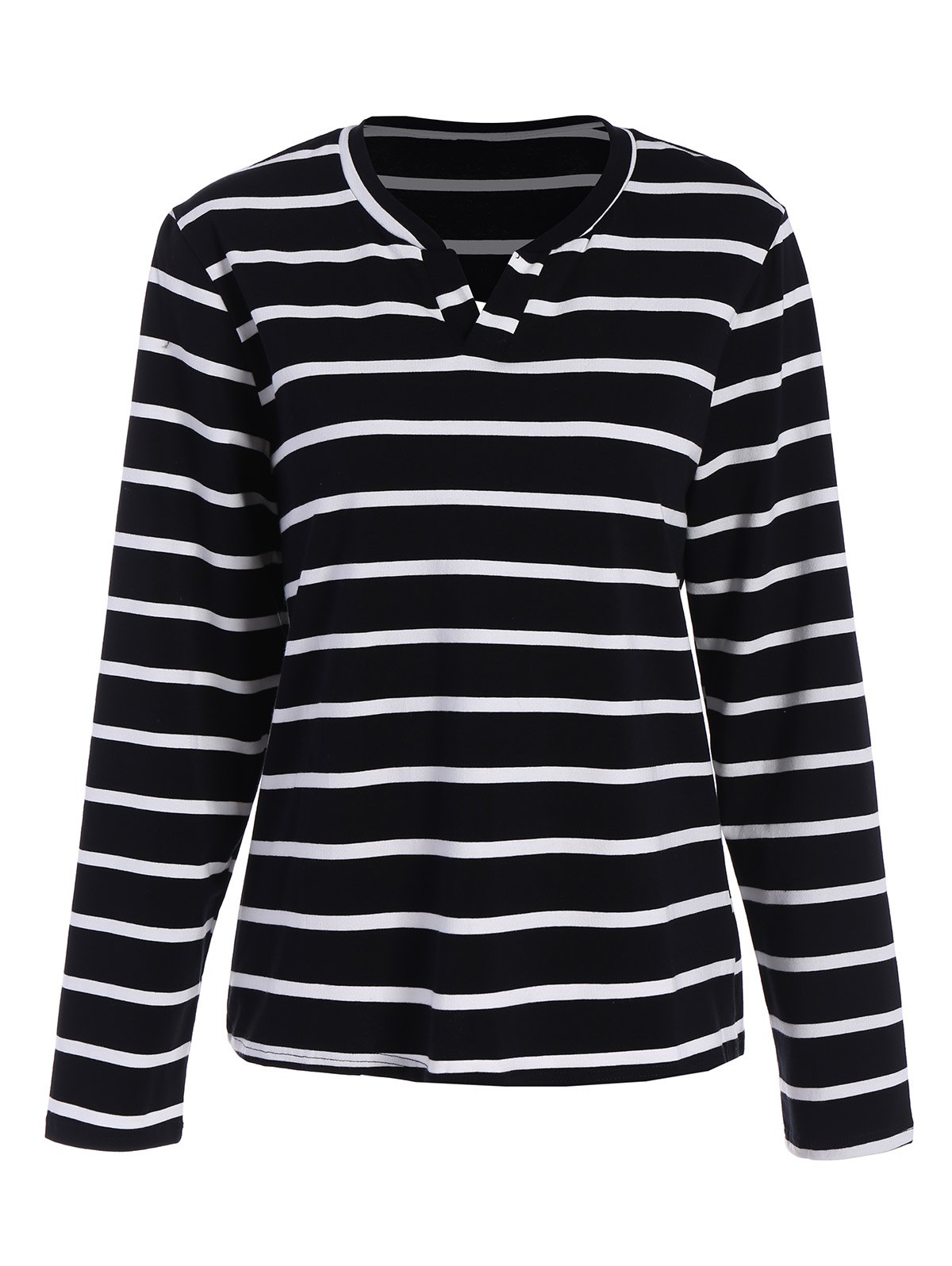 Long Sleeve Striped TeeWomen<br><br><br>Size: XL<br>Color: BLACK
