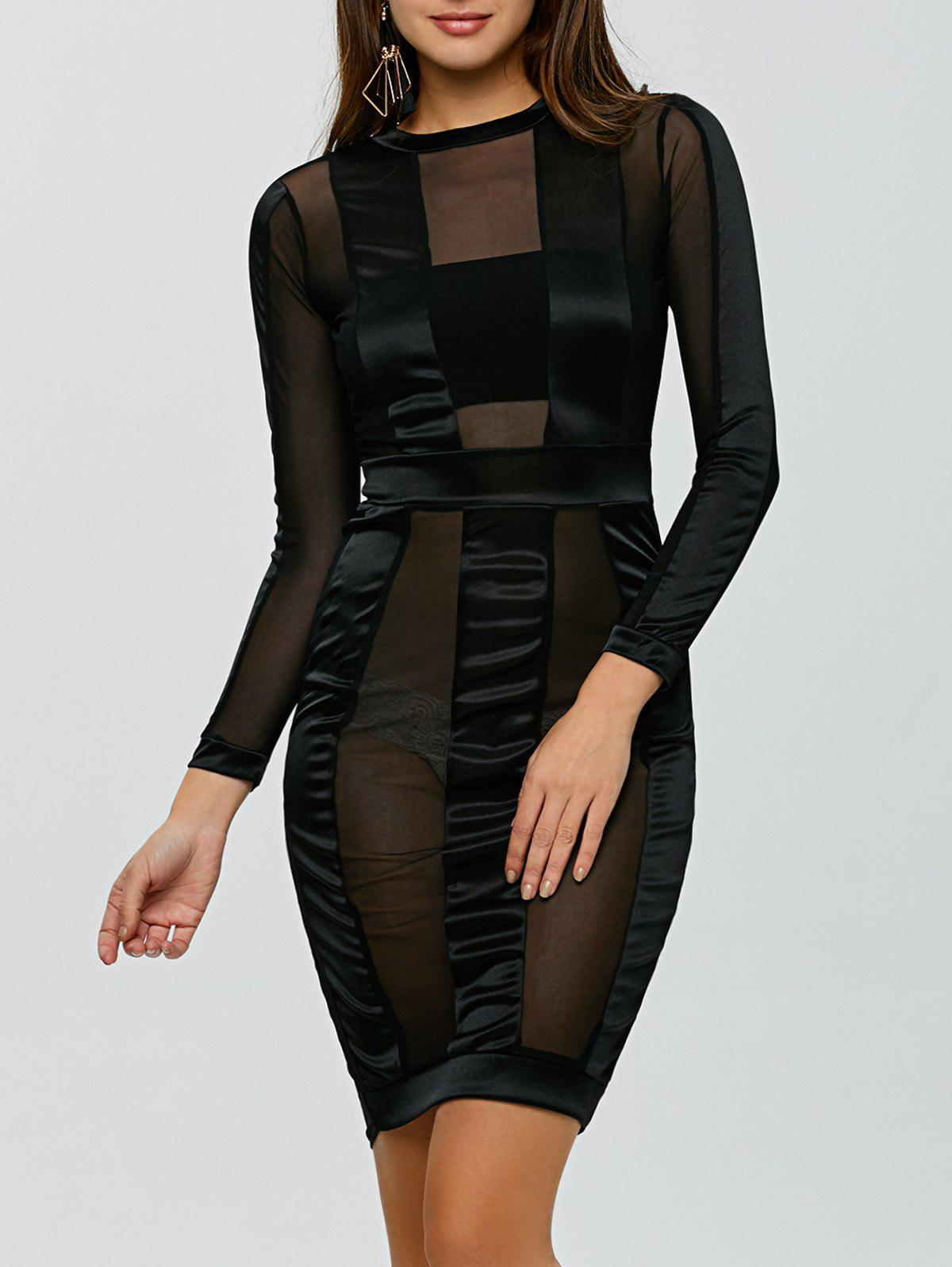 See Through Long Sleeve Bandage Club Dress - BLACK S