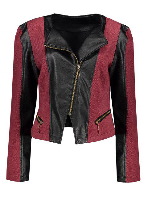 0ff1daba98a Plus Size Chic Zipped Leather Patchwork Jacket For Women - DEEP RED 3XL