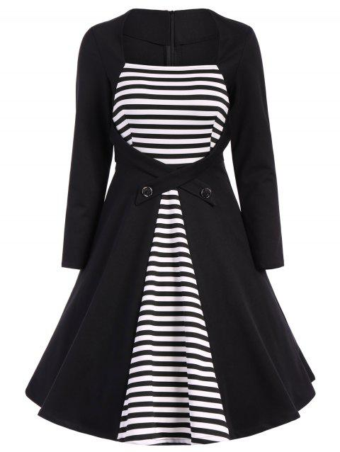 Plus Size Square Collar Striped Skater Dress with Long Sleeves - BLACK 2XL