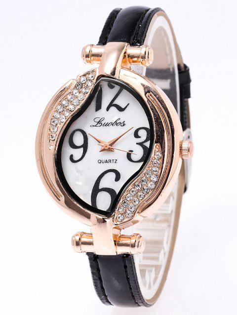 Rhinestone Artificial Leather Watch - BLACK