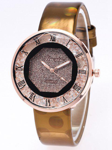 Faux Leather Watchband Roman Numerals Watch - COFFEE