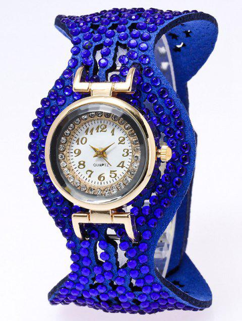 Rhinestone Artificial Leather Quartz Bracelet Watch - BLUE