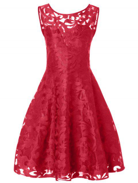 Lace Plus Size Holiday Short Cocktail Dress - BRIGHT RED 2XL