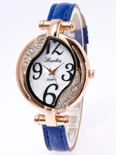 Rhinestone Artificial Leather Watch - BLUE
