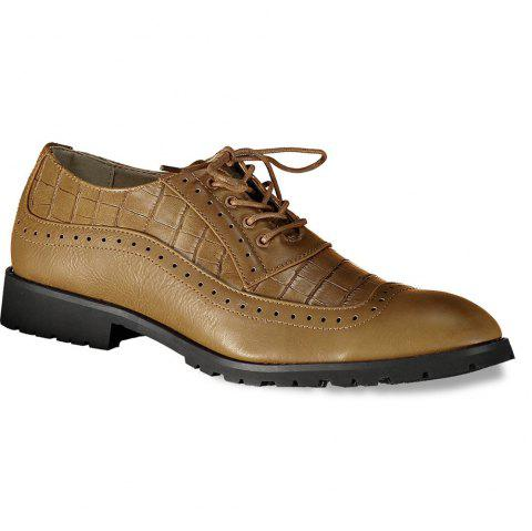 Lace Up Winge Tip Formal Shoes - BROWN 44