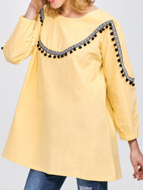 Embroidered Trapeze Top - YELLOW L