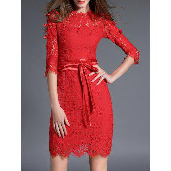 Bowknot Lace Bodycon Knee Length Dress