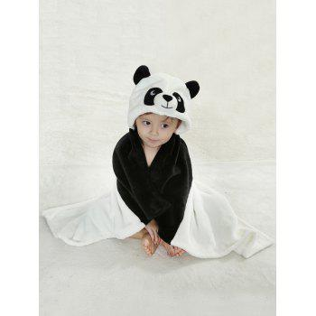 Coral Fleece Cartoon Panda Shape Hooded Blanket For Kids