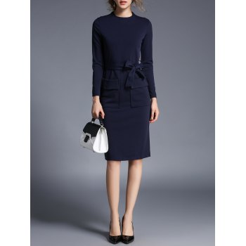 Long Sleeve Sheath Dress With Pocket