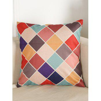 Colorful Plaid Linen Throw Home Decor Pillowcase